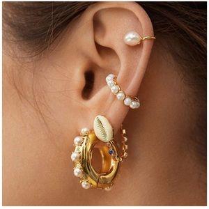 Pearl & Gold Hoop Hugging Earrings